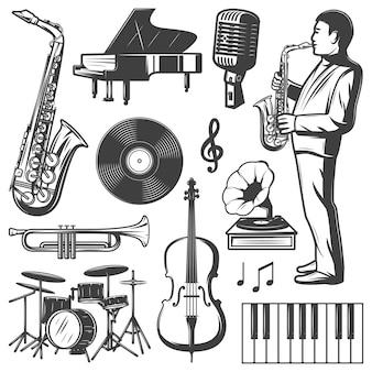 Coleção de elementos de música jazz vintage