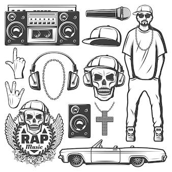 Coleção de elementos de música rap vintage com rapper boombox tampa de microfone, corrente, colar, alto-falante, crânio, carro, etiqueta, fones de ouvido isolados