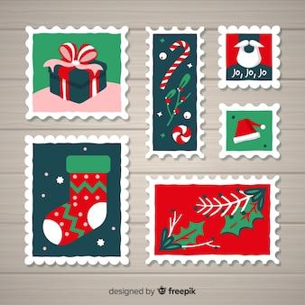 Coleção de elementos de natal de carimbo de postagem