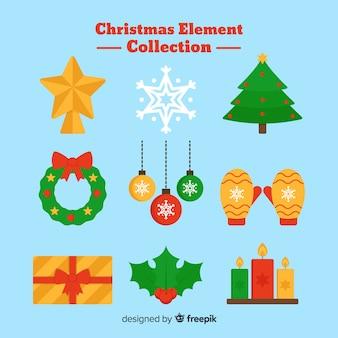 Coleção de elementos de natal de design plano