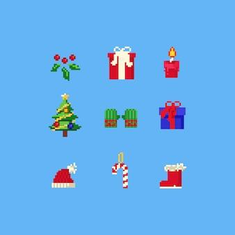 Coleção de elementos de natal de pixel