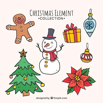 Coleção de elementos de natal desenhada a mão