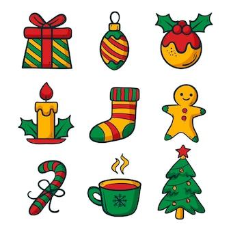 Coleção de elementos de natal desenhada à mão