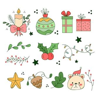 Coleção de elementos de natal desenhados à mão