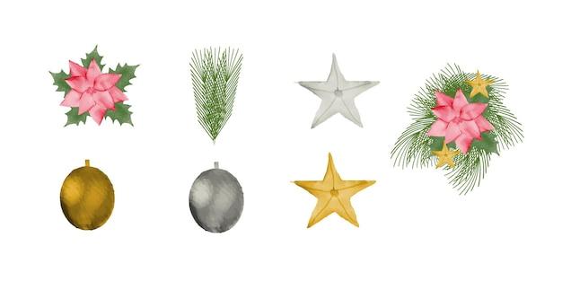 Coleção de elementos de natal em aquarela bonita uma árvore de natal e uma estrela