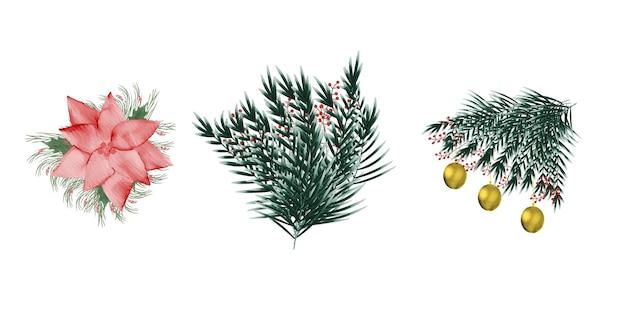 Coleção de elementos de natal em aquarela de banner floral de natal