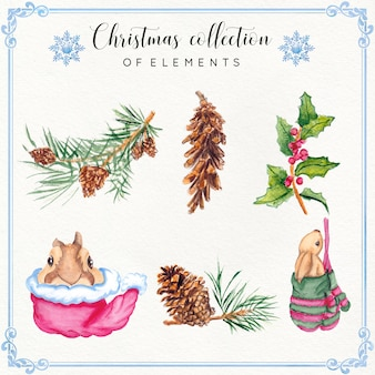 Coleção de elementos de natal em aquarela