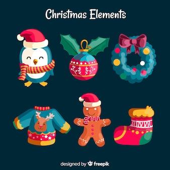 Coleção de elementos de natal em design plano