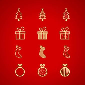 Coleção de elementos de natal em fundo vermelho. bola de ouro de natal, meia, árvore de ouro de presente dourado. ícone de elementos de natal dourado sobre fundo vermelho. projeto de elementos de banner ou cartão de natal.