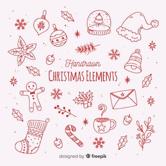 Coleção de elementos de natal na mão desenhada estilo