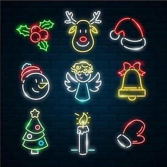 Coleção de elementos de natal neon