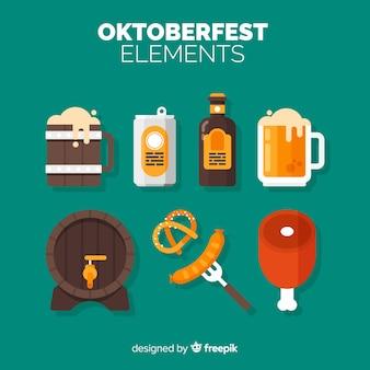 Coleção de elementos de oktoberfest com design plano