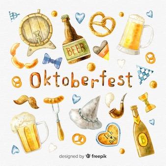 Coleção de elementos de oktoberfest em estilo aquarela