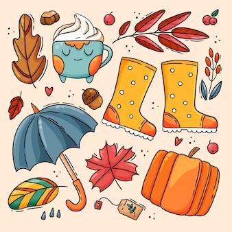 Coleção de elementos de outono desenhada à mão