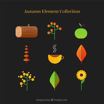 Coleção de elementos de outono em design plano