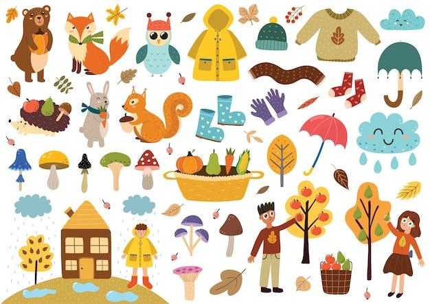 Coleção de elementos de outono fofos, animais de roupas de outono, folhas de cogumelos, crianças e muito mais