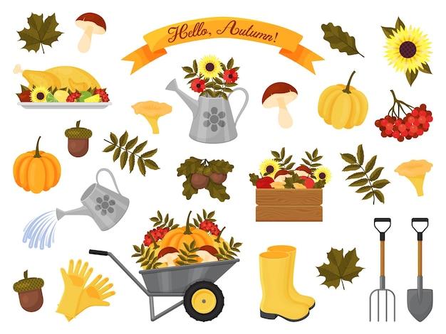Coleção de elementos de outono. ilustração vetorial. estilo de desenho animado. ícones isolados em branco.