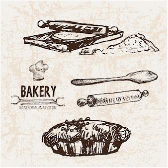 Coleção de elementos de padaria