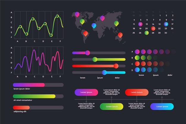 Coleção de elementos de painel infográfico