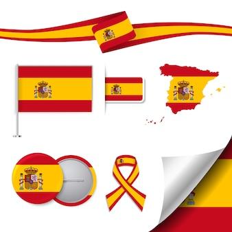 Coleção de elementos de papelaria com a bandeira de design de espanha