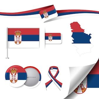 Coleção de elementos de papelaria com a bandeira de serbia design