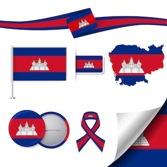 Coleção de elementos de papelaria com a bandeira do design cambodia