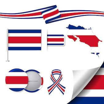 Coleção de elementos de papelaria com a bandeira do design costa rica