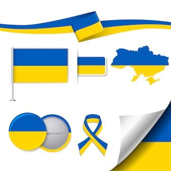 Coleção de elementos de papelaria com a bandeira do design da ucrânia