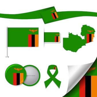 Coleção de elementos de papelaria com a bandeira do design da zâmbia