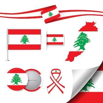 Coleção de elementos de papelaria com a bandeira do design de líbano