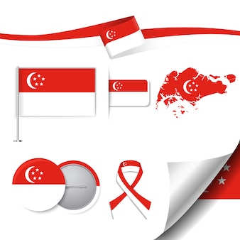 Coleção de elementos de papelaria com a bandeira do design de singapura
