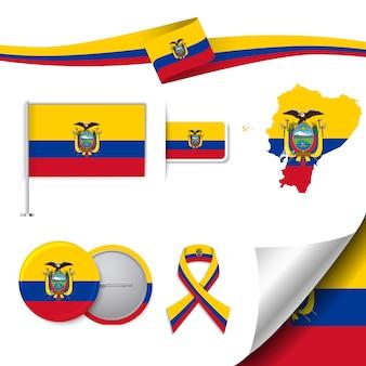 Coleção de elementos de papelaria com a bandeira do design do equador