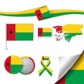 Coleção de elementos de papelaria com a bandeira do design guiné-bissau