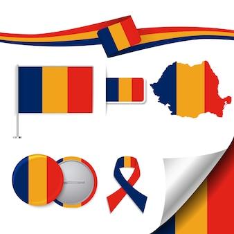 Coleção de elementos de papelaria com a bandeira do design romeno