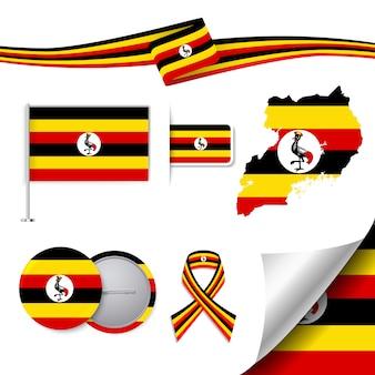 Coleção de elementos de papelaria com a bandeira do design uganda