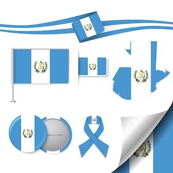 Coleção de elementos de papelaria com a bandeira do projeto de guatemala