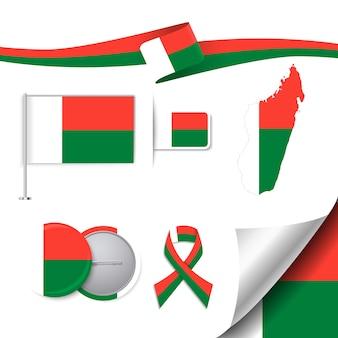 Coleção de elementos de papelaria com a bandeira do projeto madagascar