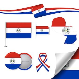 Coleção de elementos de papelaria com a bandeira do projeto paraguai