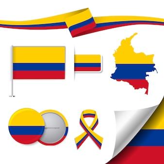 Coleção de elementos de papelaria com bandeira de design da colômbia