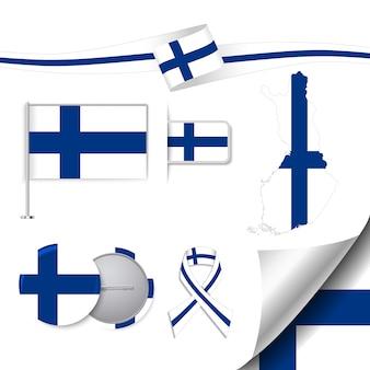 Coleção de elementos de papelaria com bandeira de design finlandês