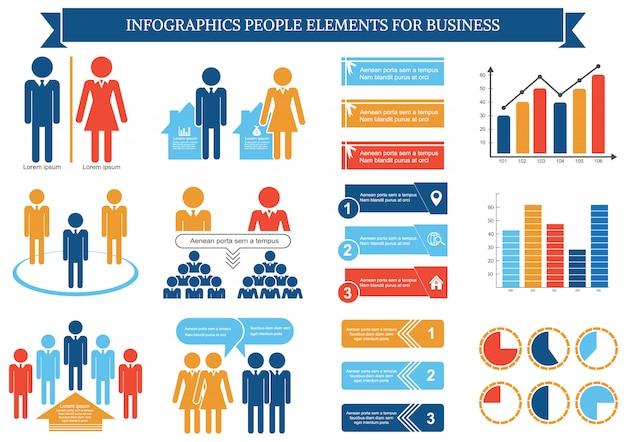 Coleção de elementos de pessoas infográfico para negócios