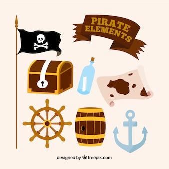 Coleção de elementos de pirata em design plano