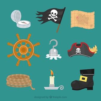 Coleção de elementos de pirata