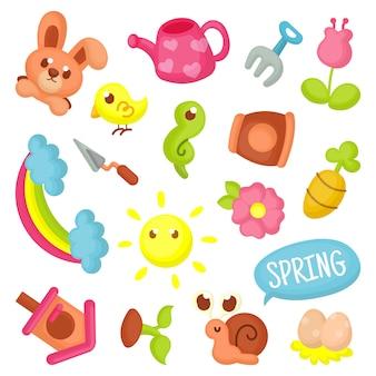 Coleção de elementos de primavera
