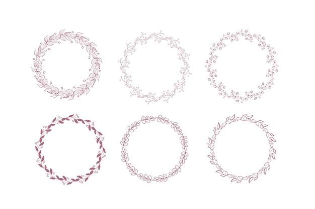 Coleção de elementos de quadro floral rústico.
