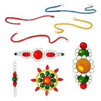 Coleção de elementos de rakshabandhan em aquarela