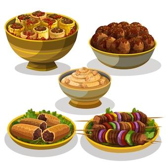 Coleção de elementos de refeição iftar desenhada à mão