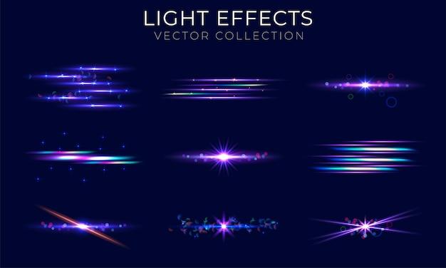 Coleção de elementos de reflexo de lente realista