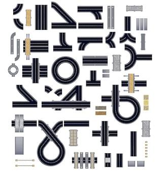 Coleção de elementos de rodovia isolada para construção e uma variedade de veículos.