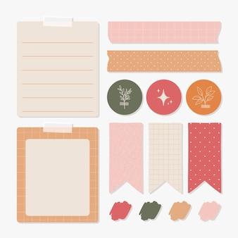Coleção de elementos de scrapbook de planejador adorável